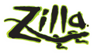 Zilla Logo. Black with neon green outline on transparent background.