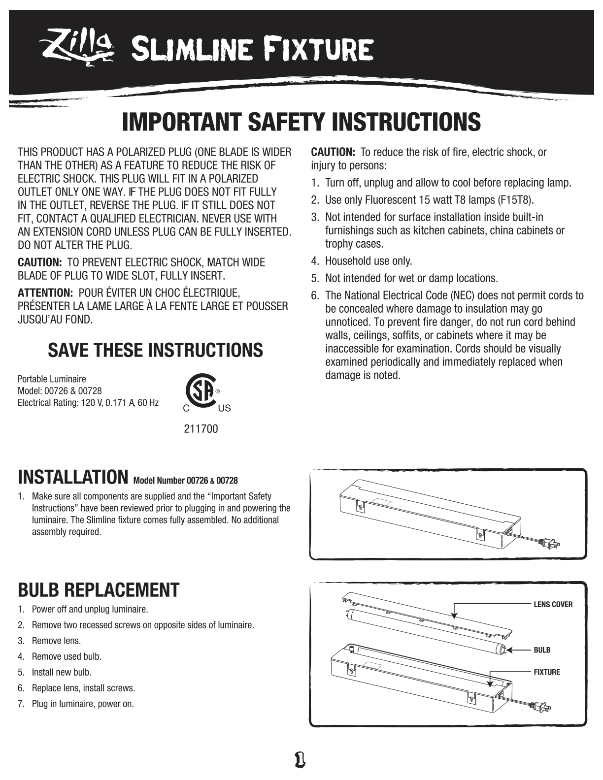 Slimline Tropical Fluorescent Light Instructions Sheet