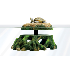 side view of Freestanding Floating Basking Platform with Turtle on top
