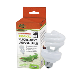 fluorescent uvb/uva bulb package next to bulb out of package