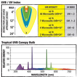 light bulb output charts: uvb/uv index and relative energy and wavelength